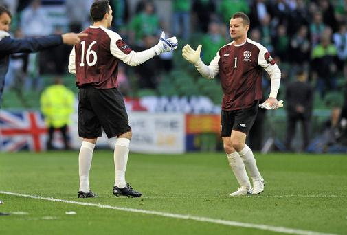 Goalkeeper David Forde made his debut replacing Shay Given (right) in 2011.