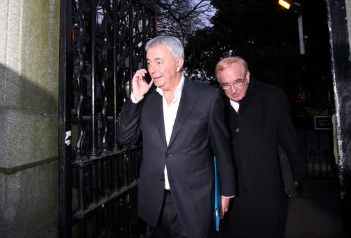 Legal threat on CRC salary cuts...Paul Kiely (left) the former chief executive of the Dublin based Central Remedial Clinic and former acting chief executive Jim Nugent (right) leaving Leinster House after giving evidence to The Public Accounts Committee. PRESS ASSOCIATION Photo.