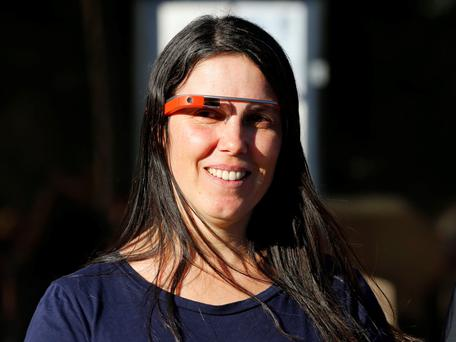 Defendant Cecilia Abadie smiles after appearing in traffic court to win her Google Glass case in San Diego January 16, 2014.