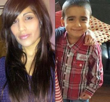 Mikaeel's mother Rosdeep (left) and her three-year-old son Mikaeel