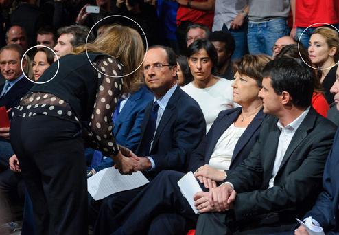 Francois Hollande on a rare occasion with his ex-partner Segolne Royal (left) his girlfriend, French journalist Valerie Trierweiler, and his mistress, French actress Julie Gayet (right), in 2012.