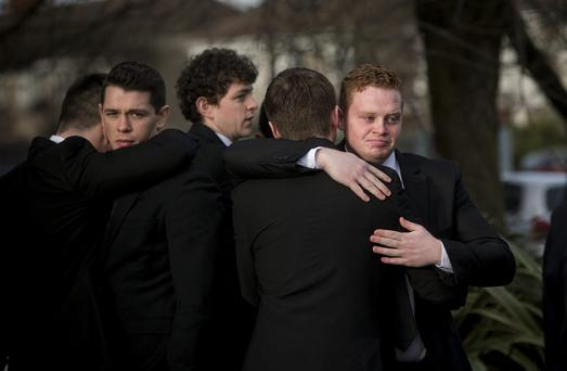 Cathal Guerin at the funeral of his beloved grandmother Bernie. Photo: Mark Condren
