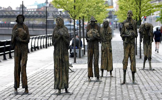 The Famine memorial sculpture near the International Financial Services Centre in Dublin. Photo: Niall Carson/PA
