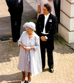 The Queen Mother with William Tallon pictured in 2008. Photo: Reeman Dansie Auctions/PA Wire