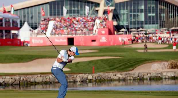 Rory McIlroy on the 18th hole during the Abu Dhabi Golf championship
