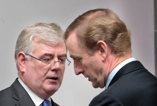 Taoiseach Enda Kenny with Tanaiste Eamon Gilmore. Photo: Tom Burke