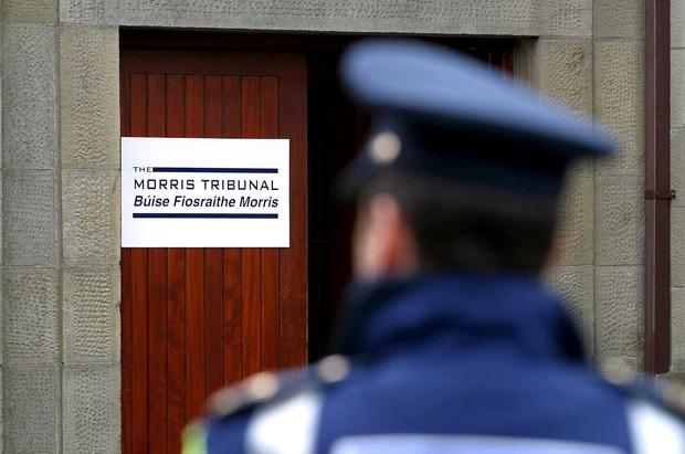 A garda on duty at the Morris Tribunal in Donegal town. Photo: Declan Doherty.