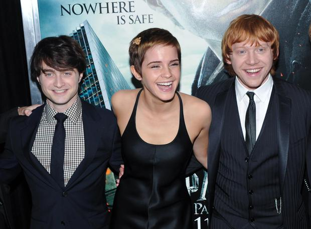 Actors, from left, Daniel Radcliffe, Emma Watson and Rupert Grint attend the premiere of 'Harry Potter and the Deathly Hallows Part 1'. Photo: AP Photo/Evan Agostini