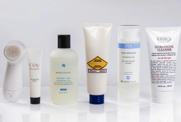 Pictured, from left: Olay Regenerist 3-Point Super Cleansing System (2-speed waterproof cleanser with bristle-brush head, and 20ml trial size Skin Perfecting Cleanser); SkinCeuticals Blemish + Age Cleansing Gel; L'Occitane Immortelle Brightening Foaming Cleanser; Ren Rosa Centifolia Cleansing Gel; Kiehl's Ultra Facial Cleanser