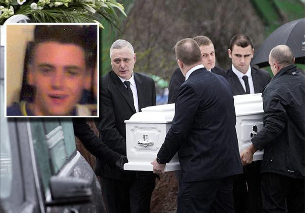 The coffin of Dale Creighton (inset) is carried from St. Aidan's Church, Brookfield.