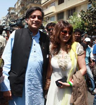 Sunanda Pushkar Tharoor with her husband, Indian Minister Shashi Tharoor in April of last year. Pic: Getty Images