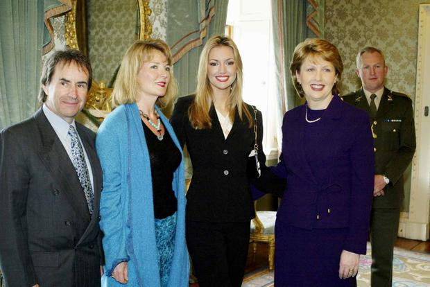 Miss world december 4th 2003 independent miss world rosanna davison pictured with her parents chris and diane deburgh and the president mary thecheapjerseys Choice Image