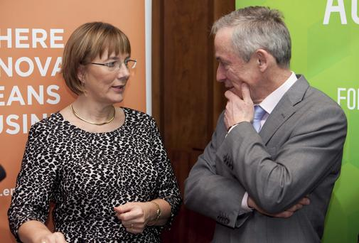 Pictured are Julie Sinnamon, Chief Executive of Enterprise Ireland and Minister for Jobs, Enterprise and Innovatation, Richard Bruton TD, when Enterprise Ireland published its end of year statement for 2013.Photo: Shane O'Neill / Fennells.