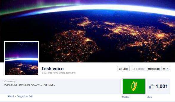 Sleeve for Facebook 'Irish voice' page