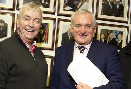 Paul Kiely with Bertie Ahern at St Luke's in 2010
