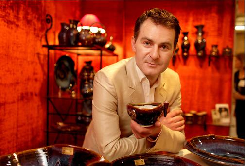 Colm de Ris with one of his pottery pieces. Photo Gerry Mooney.