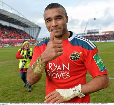 Simon Zebo, Munster, celebrates after the final whistle.
