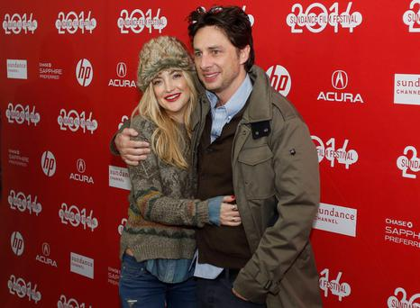"Actors Kate Hudson (L) and Zach Braff attend the premiere of the film ""Wish I Was Here"" at the Sundance Film Festival in Park City, Utah"