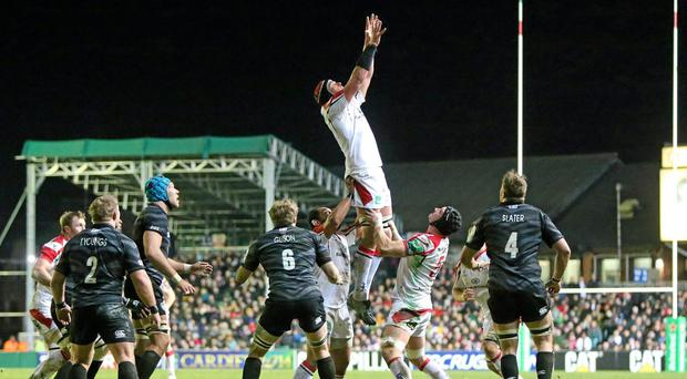 Johann Muller, Ulster, takes the ball in a lineout