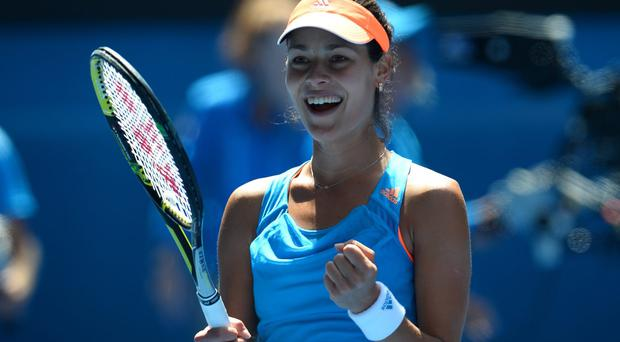 Serbia's Ana Ivanovic celebrates after victory against Serena Williams