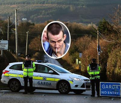 Gardai at scene of the killing in Tallaght. Inset: Michael Devoy. PHOTOS: BRIAN LAWLESS; COURTPIX