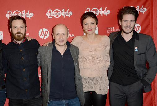 Scoot McNairy, director Lenny Abrahamson, Maggie Gyllenhaal and Francois Civil attend the 'Frank' premiere during the 2014 Sundance Film Festival in Utah