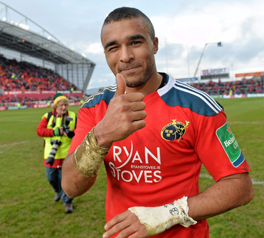 Simon Zebo, Munster, celebrates after the final whistle. Heineken Cup 2013/14, Pool 6, Round 6, Munster v Edinburgh, Thomond Park, Limerick. Picture credit: Matt Browne / SPORTSFILE