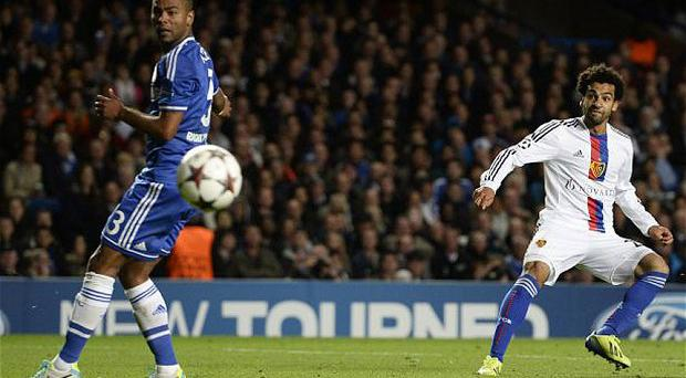 Mohamed Salah in action against Chelsea this season