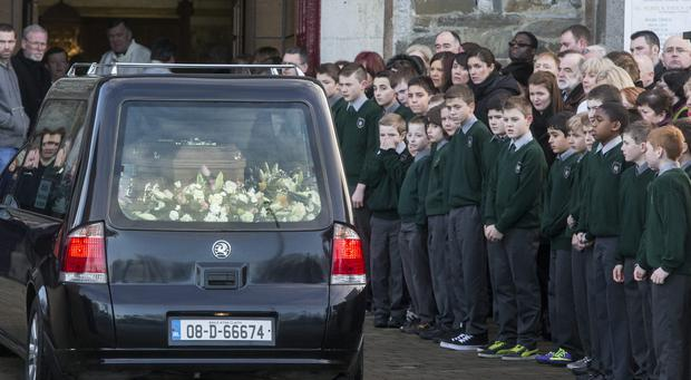 The remains of Olivia Dunne are brought to St Peter and Pauls Church, Balbriggan for her funeral mass. Photo: Mark Condren