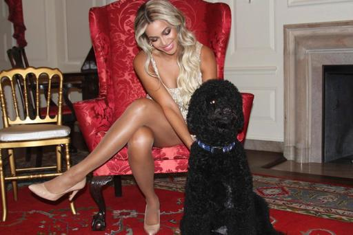 Beyonce shared this snap of her with the First Dog, Bo, from Saturday night