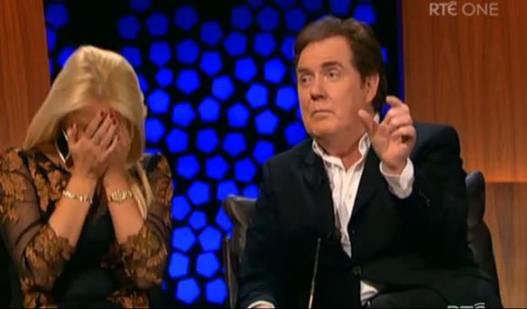 Former Eurovision singer Red's wife of five years covered her face in her hands. (Photo: RTE)