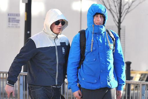 Gregory Horan and Lee Patrick Byrne leaving Minshull Street Crown Court in Manchester. Photo: Steve Allen