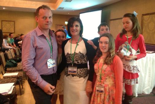 Leonie and Kieran Guiney and their children at the Positive Farmers conference last week.