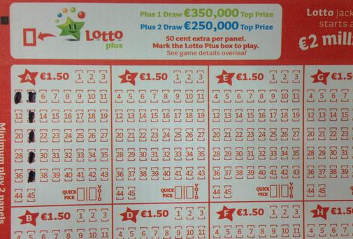 The Lotto numbers picked by six people for last Saturday's jackpot form an inverted L shape on the slip as shown in pic