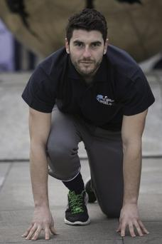 Bernard Brogan (Dublin GAA) at the launch of the Wings for Life World Run 2014, the world's first global running race in in Trinity College, Dublin