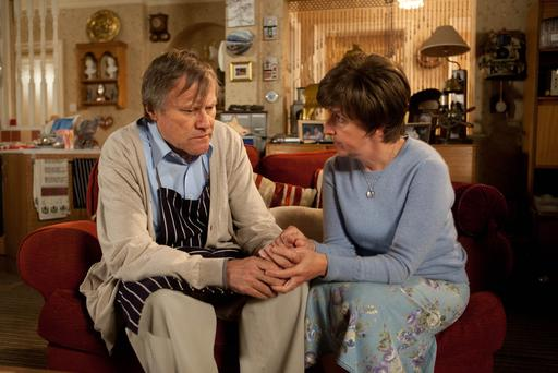 Roy (David Neilson) and Hayley (Julie Hesmondhalgh) in Monday's episode.