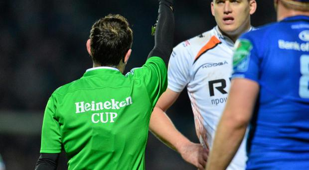 Ospreys' Ian Evans is shown a straight red card by referee Romain Poite