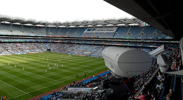 One of the Hawk-Eye Innovations Ltd cameras being used at Croke Park, Dublin