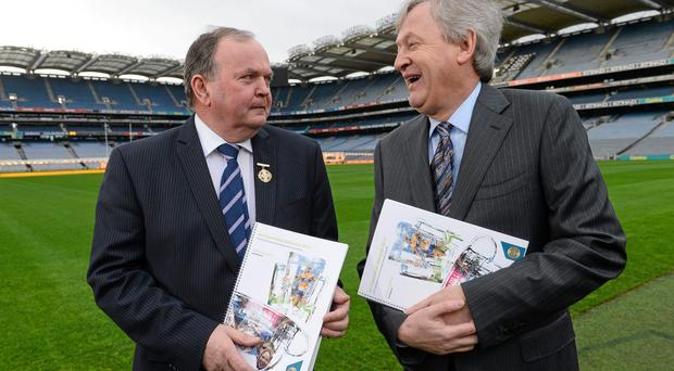GAA president Liam Ó Néill and director-general of the GAA Páraic Duffy in attendance at the publication of the Director General's annual report