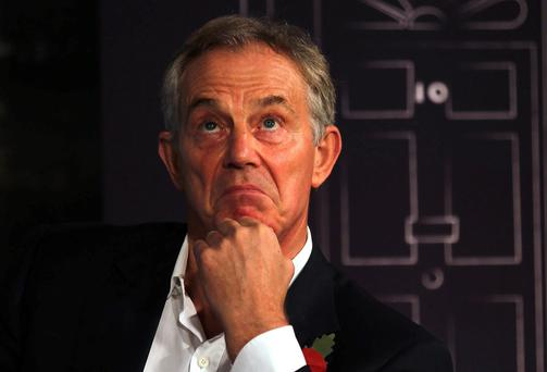 File photo dated 28/10/13 of Tony Blair who has played down an attempt by a bar worker to arrest him at a trendy London restaurant. Photo: PA.