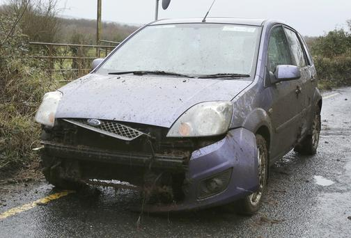 The Ford Fiesta car which was washed off the road in Co Limerick by a wall of slurry. Picture: Don Moloney/Press 22