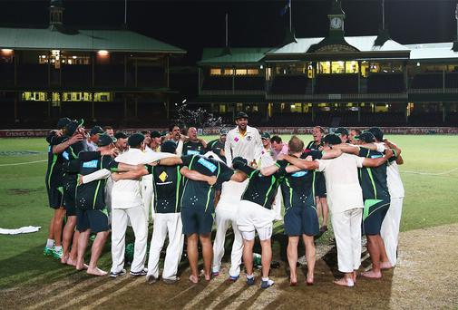 Australia celebrate their whitewash over England in the Ashes series