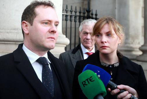 David and Roberta Dodds, from Sandyford, Dublin, at the Four Courts after settling their case against the Mount Carmel hospital. Picture: Courtpix