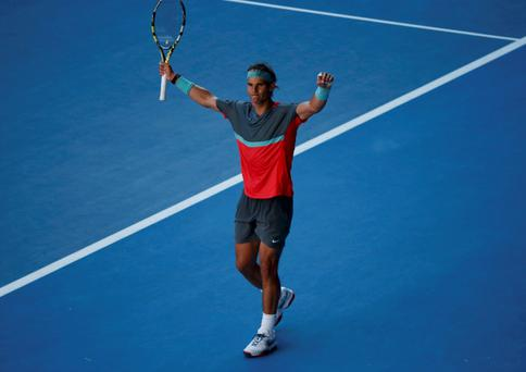 Rafael Nadal of Spain celebrates defeating Grigor Dimitrov of Bulgaria in their men's singles quarter-final tennis match at the Australian Open.