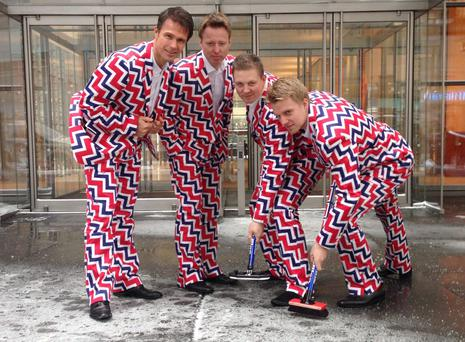 Team Norway's curling uniforms for the Winter Olympics that begin in Sochi on Feb. 7 were revealed on Tuesday.