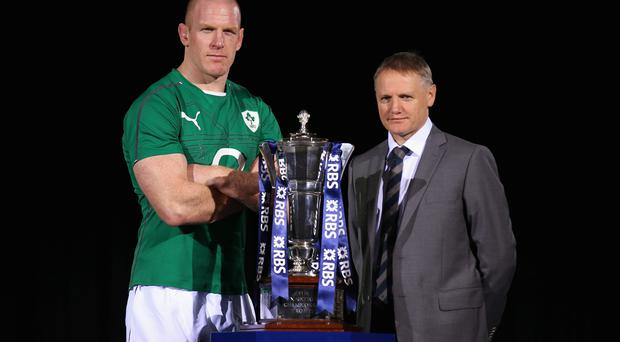 Paul O'Connell and Joe Schmidt pose for a photo during the RBS Six Nations Launch
