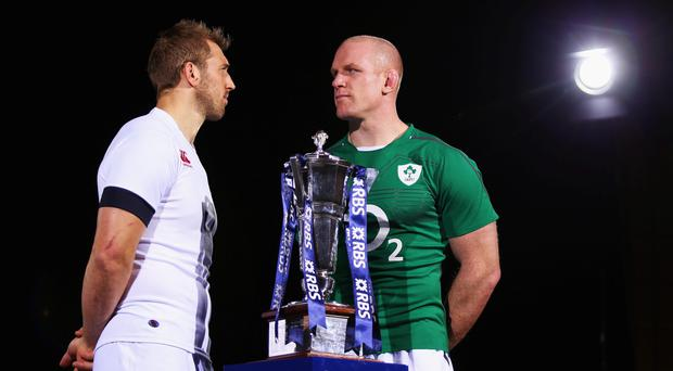 Captains Chris Robshaw and Paul O'Connell pose for a photo during the RBS Six Nations Launch