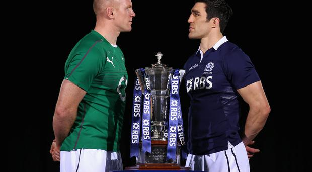 Captains Paul O'Connell and Kelly Brown pose for a photo during the RBS Six Nations Launch