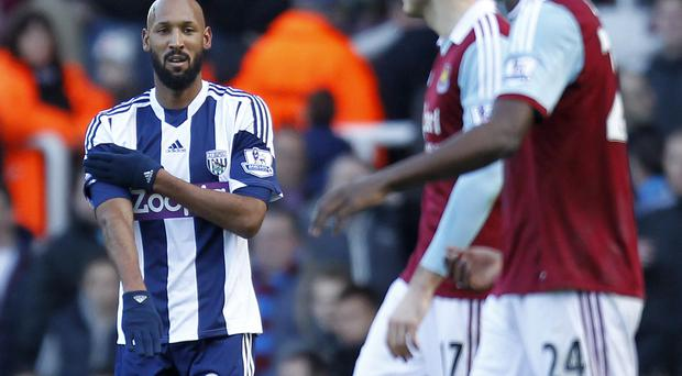 West Bromwich Albion's French striker Nicolas Anelka and his controversial goal celebration against West Ham