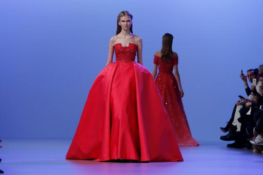 A model presents a creation by Lebanese designer Elie Saab as part of his Haute Couture Spring/Summer 2014 fashion collection in Paris, January 22, 2014. REUTERS/Gonzalo Fuentes